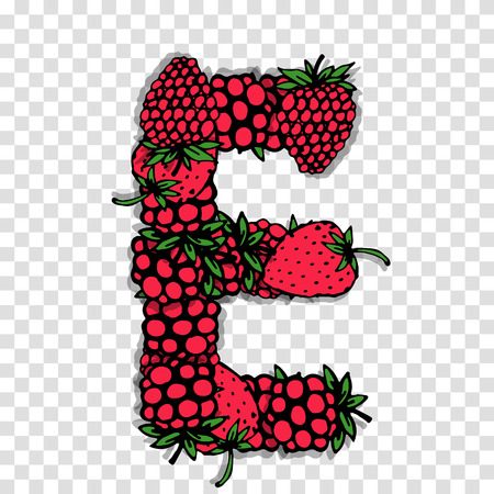 red berries: Letter E made from red berries, sketch for your design. Illustration