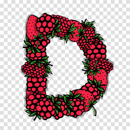 red berries: Letter D made from red berries, sketch for your design.