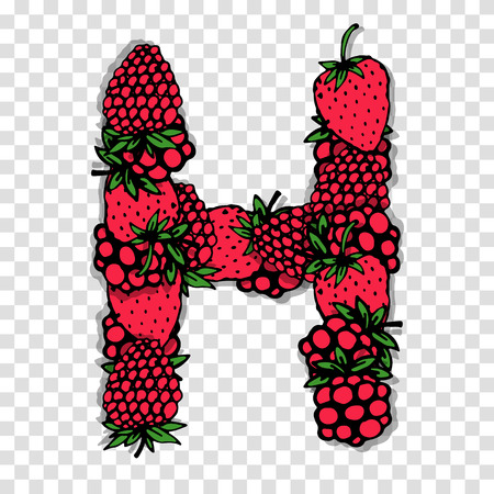 red berries: Letter H made from red berries, sketch for your design. Illustration