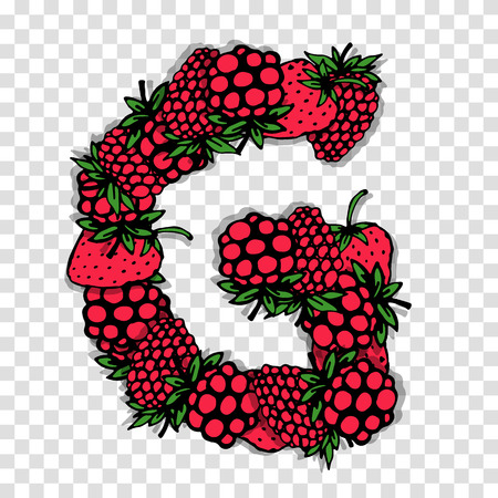 red berries: Letter G made from red berries, sketch for your design.