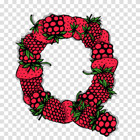 red berries: Letter Q made from red berries, sketch for your design.