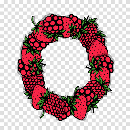 red berries: Letter O made from red berries, sketch for your design. Illustration
