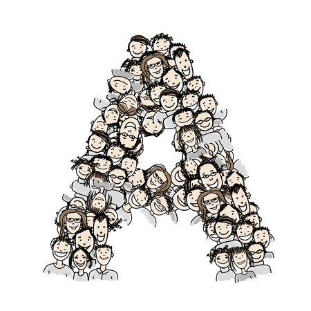 Letter A, people crowd, vector alphabet design