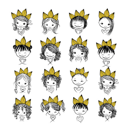 princess dress: Girls princess with crown on head for your design