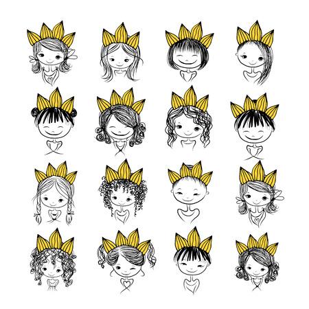 princesa: Princesa Girls con la corona en la cabeza para su diseño Vectores