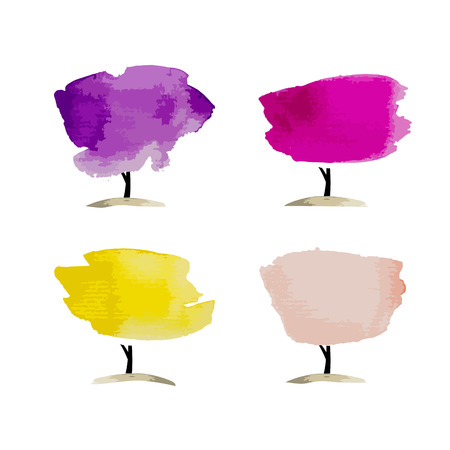 your text: Abstract watercolor trees, place for your text
