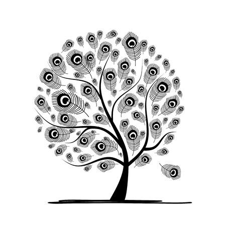 plumas de pavo real: Árbol del arte con la pluma de pavo real para su diseño Vectores