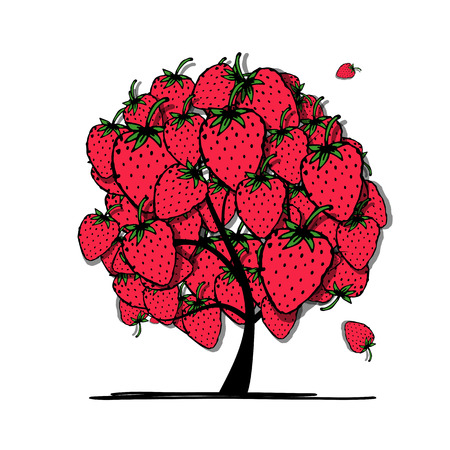 strawberry tree: Strawberry tree, sketch for your design