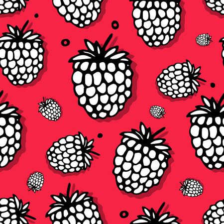 seamless pattern: Raspberry seamless pattern for your design Illustration