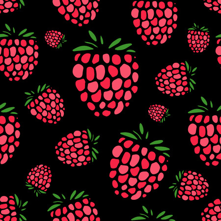 Raspberry seamless pattern for your design Illustration
