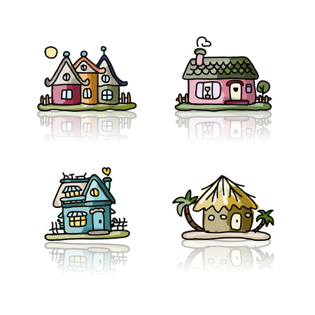 country life: Set of houses, sketch for your design
