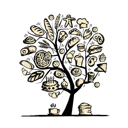 coffee tree: Bakery tree concept for your design. Vector illustration Illustration