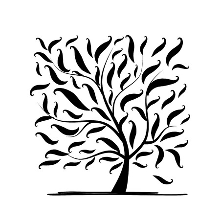 black tree: Art tree square for your design. Vector illustration
