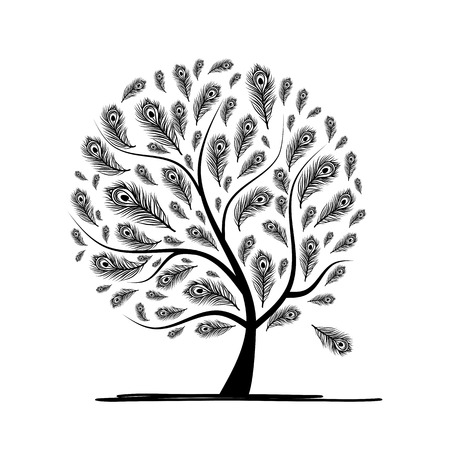 tree outline: Art tree with peacock feather for your design. Vector illustration Illustration