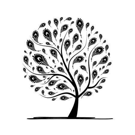 dessin au trait: Art tree avec plume de paon pour votre conception. Vector illustration