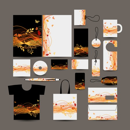 Corporate business style design: folder, bag, label, mug, cards, tshort, pen, envelope