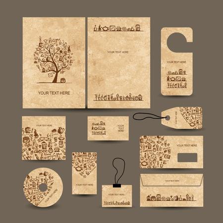 Visitekaartjes collectie met koffie conceptontwerp Stock Illustratie