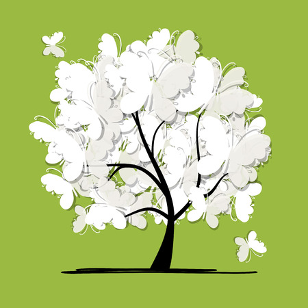 celebrate life: Art tree with butterflies for your design. Vector illustration