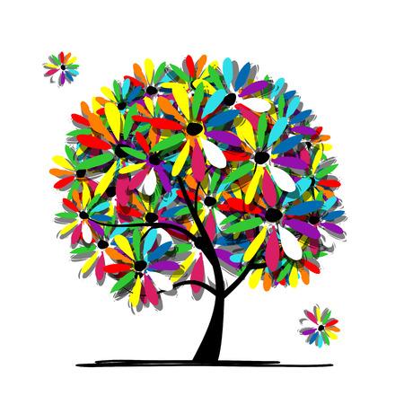 dessin au trait: Arbre floral coloré pour votre conception. Vector illustration
