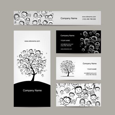 tree design: Business cards design, people tree. Vector illustration