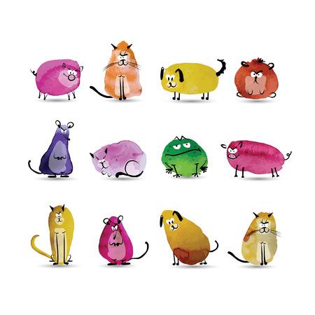 spatter: Funny animals set. Watercolor sketch for your design. Vector illustration