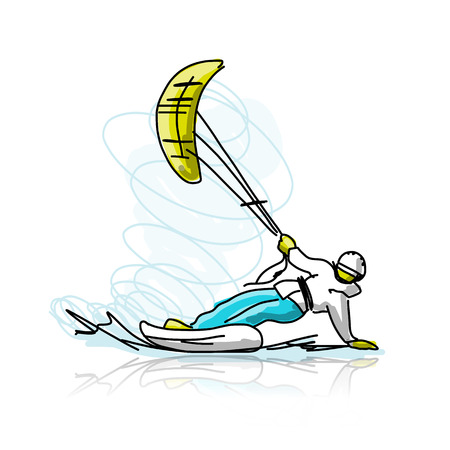 wind surfing: Kite surfer on snowboard, sketch for your design. Vector illustration