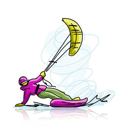 Kite surfer on snowboard, sketch for your design. Vector illustration