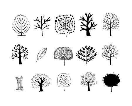 arbol de pino: Conjunto de árboles de arte para su diseño. Ilustración vectorial