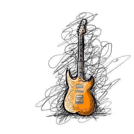 Art sketch of guitar for your design. Vector illustration