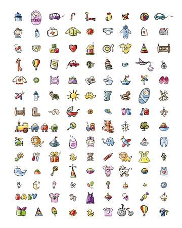 Set von 126 Baby-Icons für Ihr Design. Vektor-Illustration Illustration