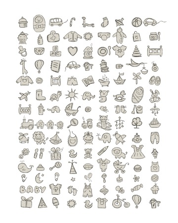nappies: Set of 126 baby icons for your design. Vector illustration