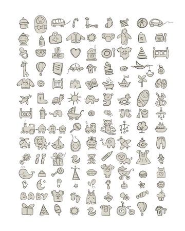 Set van 126 baby pictogrammen voor uw ontwerp. Vector illustratie Stock Illustratie
