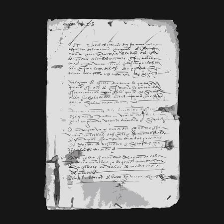 old grunge paper: Ancient letter on old grunge paper for your design. Vector illustration