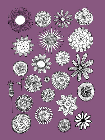 seasons cartoon: Flowers collection, sketch for your design. Vector illustration Illustration