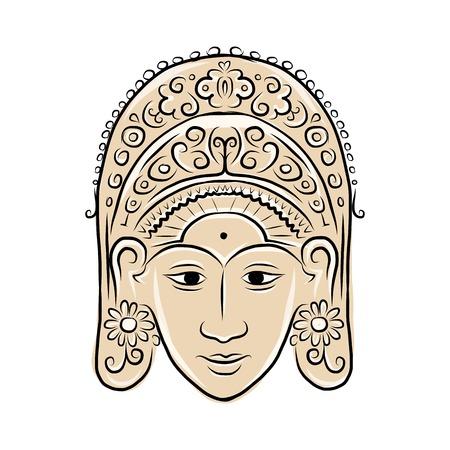 exotic dancer: Wooden mask of indonesian dancer woman, sketch for your design. Vector