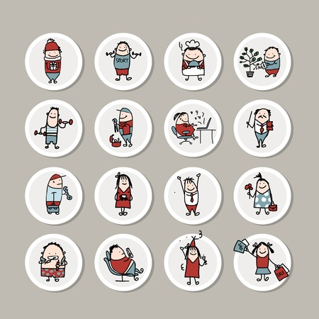 funny people: Funny people collection for your design. Vector illustration Illustration
