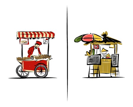 vendor: Street sellers, sketch for your design. Illustration about Turkey and Thailand. Vector Illustration