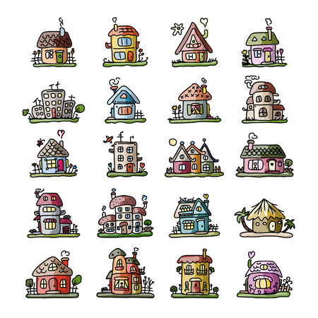 country life: Set of houses, sketch for your design. Vector illustration