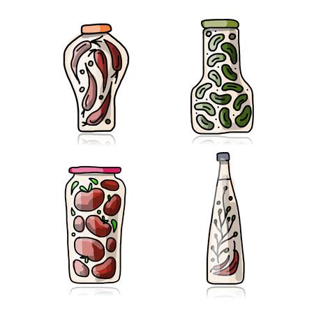 pickled: Bank of pickled vegetables, sketch for your design. Vector illustration Illustration