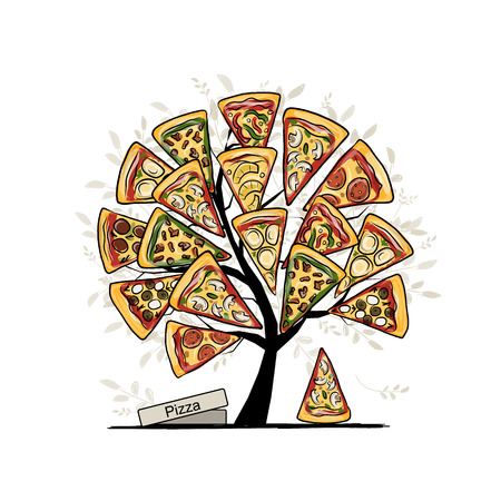 sliced tree: Pizza tree, sketch for your design. Vector illustration