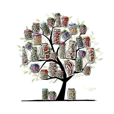Art tree with pickle jars for your design. Vector illustration