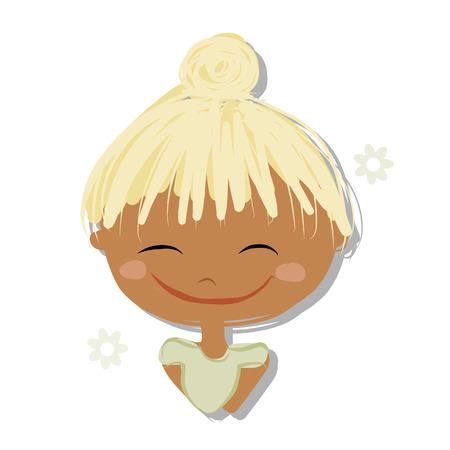 kid portrait: Cute girl smiling, sketch for your design, vector illustration Illustration