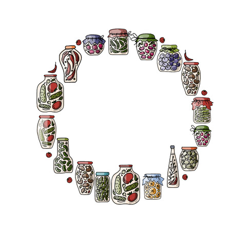 pickle: Frame with pickle jars with fruits and vegetables. Vector illustration Illustration