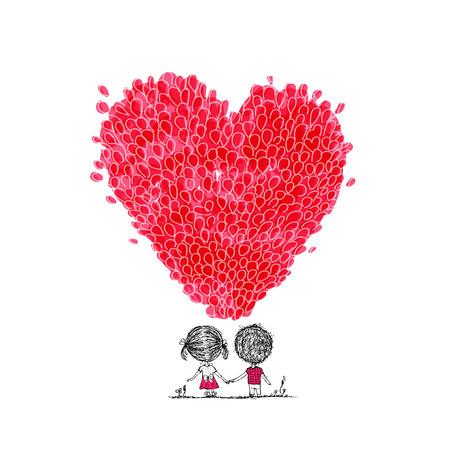 anniversario matrimonio: palloncini vacanza, a forma di cuore per il vostro disegno. illustrazione di vettore