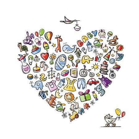 Baby toys frame, heart shape for your design. Vector illustration