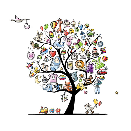 nappies: Art tree with baby toys for your design. Vector illustration Illustration