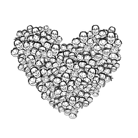 Happy peoples, heart shape for your design. Vector illustration Illustration