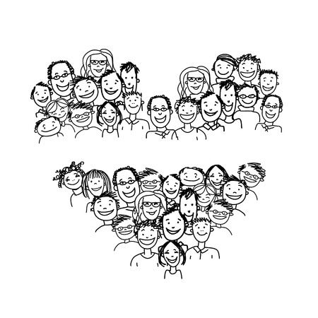 Happy peoples, heart shape for your design. Vector illustration Illustration