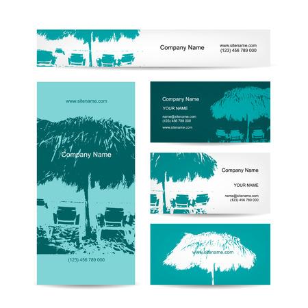 palmier: conception de cartes d'affaires, complexe tropical. Vector illustration