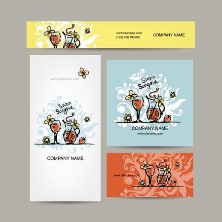 sangria: Sangria, spanish drink. Business cards design. Vector illustration